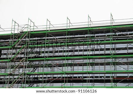 Scaffold on a big engineering construction site