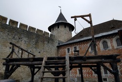scaffold on the square of a medieval castle