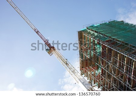 Scaffolding and crane / construction