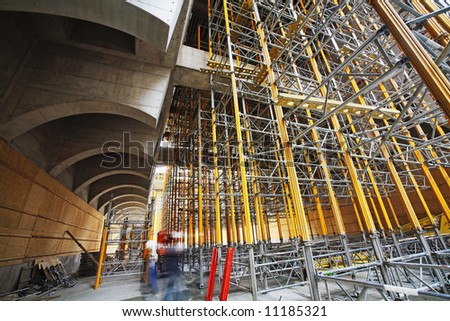 scaffolding at a building site