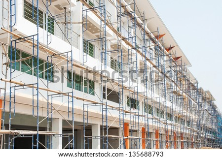 scaffolding ,building construction - stock photo