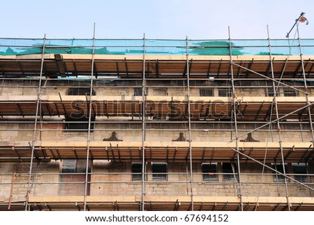 Scaffolding Covering a Building under Restoration