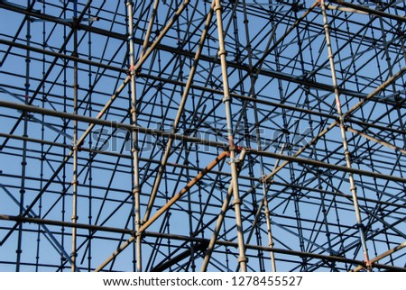 scaffolding framework construction structure parallel artistic pattern background