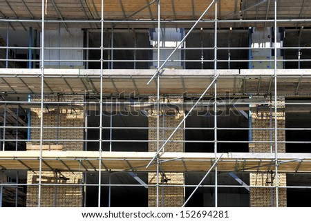 Scaffolding on a new apartment construction site
