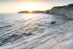 Scala dei Turchi - Stair of the turks bay in sunset rays, Sicily, Italy. Winter-like view.