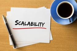 Scalability - handwriting on papers with cup of coffee and pen, business concept