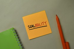 Scalability write on sticky notes isolated on office desk.