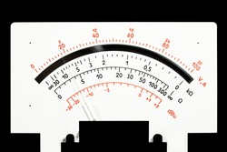 scale analog multimeter on a black background