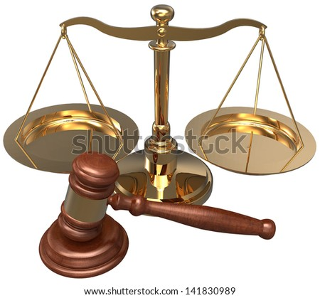 Scale and gavel as symbols of court of and justice, lawyer, attorney legal concepts