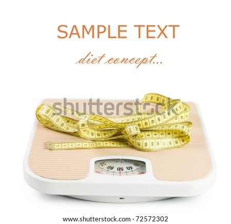 Scale and tape on white background