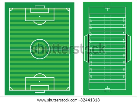 scale diagrams of a soccer pitch and an american football field    scale diagrams of a soccer pitch and an american football field  with all markings and dimensions to scale stock photo     shutterstock