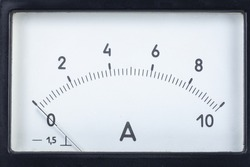 Scale of the old arrow measuring device of the ampermeter close up in the black case