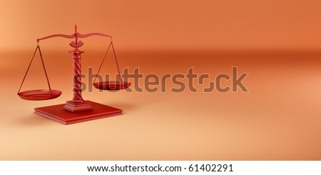 Scale on yellow background. Symbol of justice. 3d