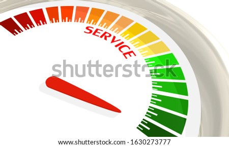 Scale with arrow. Service level measuring device icon. Sign tachometer, speedometer, indicators. Infographic gauge element. 3D rendering