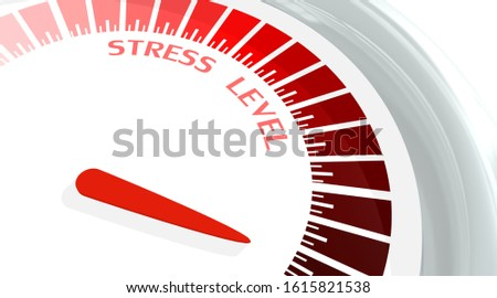 Scale with arrow. Stress level measuring device icon. Sign tachometer, speedometer, indicators. Infographic gauge element. 3D rendering