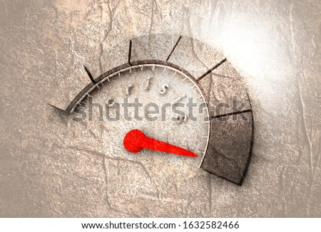 Scale with arrow. The crisis level measuring device icon. Sign tachometer, speedometer, indicators. Infographic gauge element.