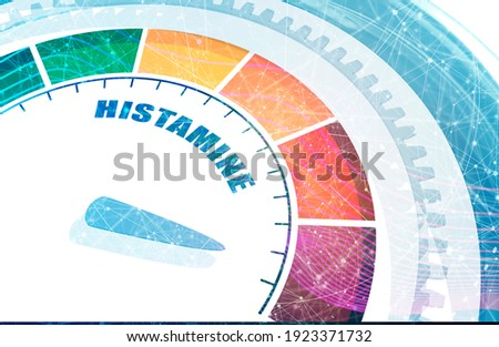 Scale with arrow. The histamine measuring device. Sign tachometer, speedometer, indicator. 3D rendering Zdjęcia stock ©