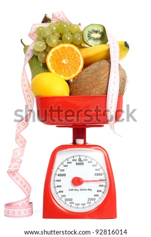 Scale with fruits