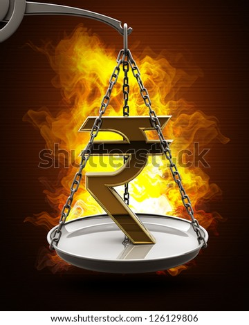 Scale with golden Indian rupee in Fire. High resolution. 3D image