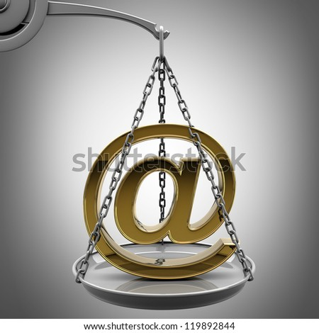 Scale with golden mail symbol  High resolution 3d render