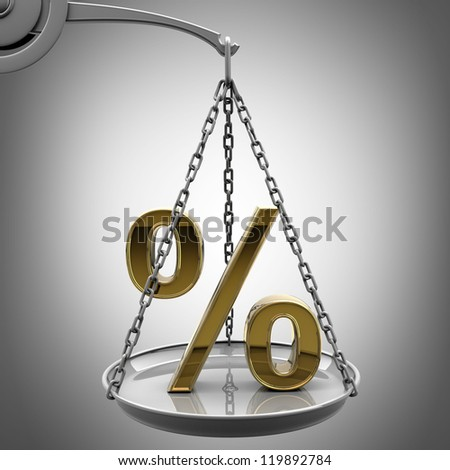 Scale with golden percent symbol High resolution 3d render