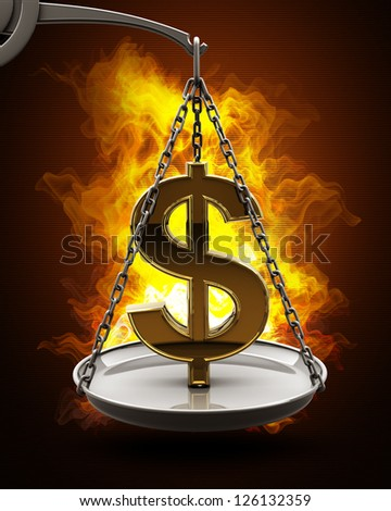 Scale with golden US dollar symbol in Fire. High resolution. 3D image