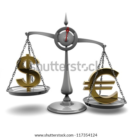 Scale with symbols of currencies Euro vs US dollar isolated on white background High resolution 3d render