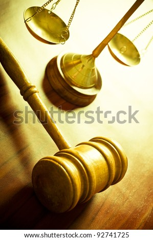 scales and judge's hammer, concept for justice