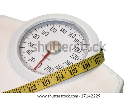 Scales and tape measure isolated on white background with clipping path.