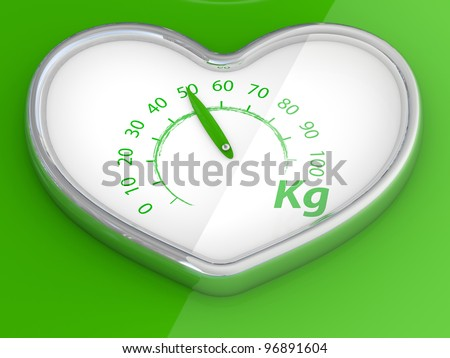 Scales  in the form of heart. 3D model on green background