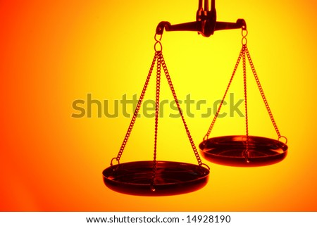 scales in the gold light with copy space