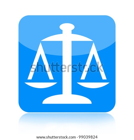 Scales of justice blue glossy button isolated on white background