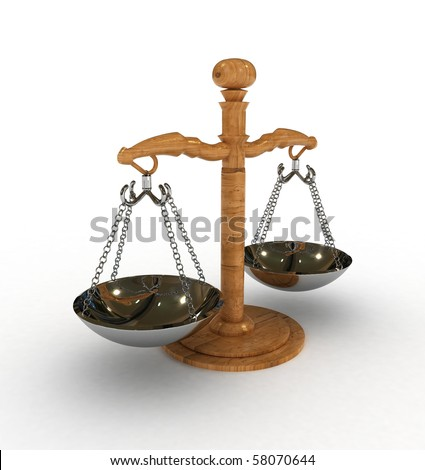 Scales of justice 3D rendered