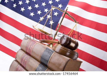 old american flag background. of old law books with the