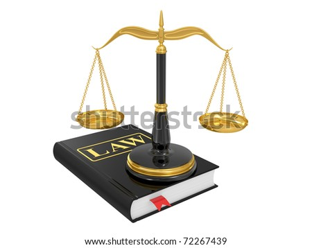scales on a law book on a white background