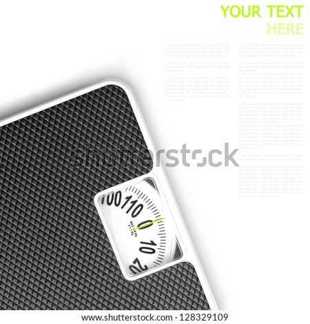 Scales on white background (with sample text)