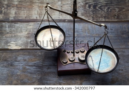Scales on wooden background