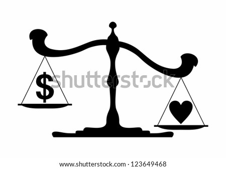 Scales with a dollar emblem on one bowl and heart on another