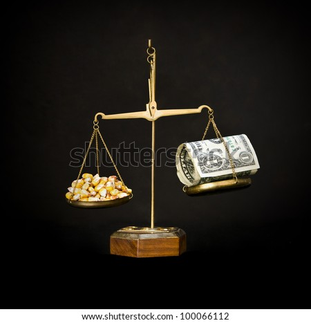 Scales with corn and money. food prices go up.