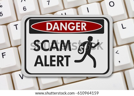 Scam alert danger sign, A black and white danger sign with text Scam Alert and theft icon on a keyboard 3D Illustration