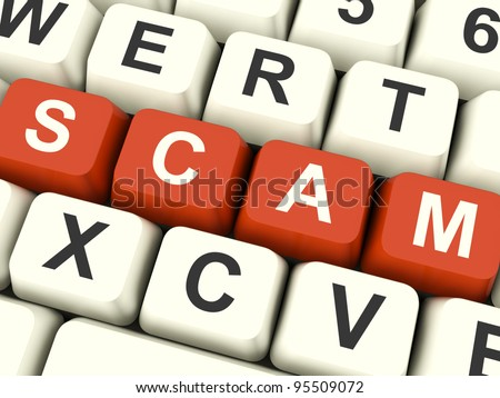 Scam Computer Keys Showing Swindles And Frauds