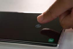 Scan finger on smartphone.Security on a smartphone