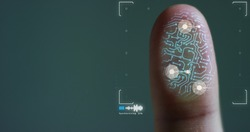 scan fingerprint biometric identity and approval. concept of the future of security and password control through fingerprints in an advanced technological future and cybernetic