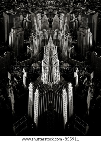 Scan of medium format's original black&white negative shot in New York from observation deck of WTC in May 1999. Symmetries in Photoshop
