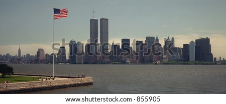 Scan of medium format's original negative shot in New York in May 1999, view of WTC towers -  VERY NOISY