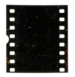 Scan of old 35mm dia film strip, film material texture with signs of usage and dust