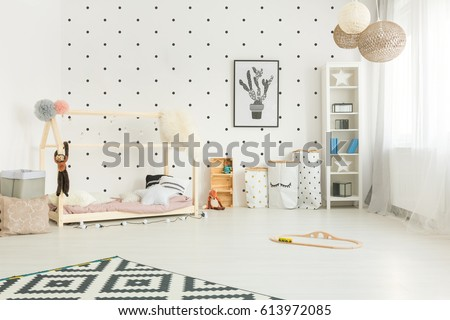 Scandi style, white child room with diy house bed