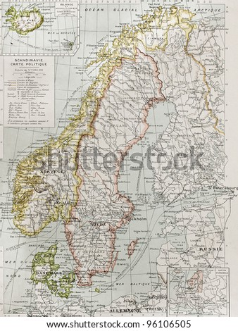 Scandinavia political map with Iceland insert map. By Paul Vidal de Lablache, Atlas Classique, Librerie Colin, Paris, 1894 (first edition)
