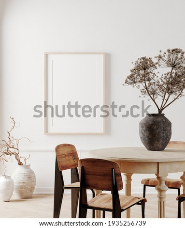 Scandinavian and retro style template. Mockup poster frame, dining table set on white background. 3d rendering illustration. Clipping path included. Stock photo ©