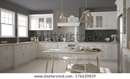 Scandinavian classic white kitchen with wooden details, minimalistic interior design, 3d illustration #576620839